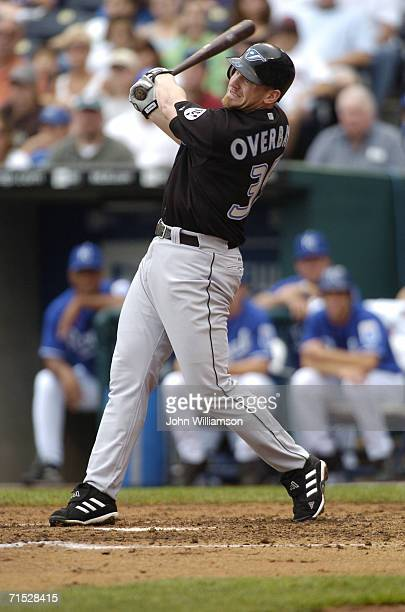 Infielder Lyle Overbay of the Toronto Blue Jays bats during the game against the Kansas City Royals at Kauffman Stadium on July 9 2006 in Kansas City...