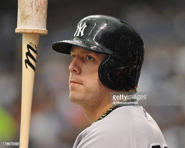 Infielder Mark Reynolds of the New York Yankees sets to bat against the Tampa Bay Rays August 25 2013 at Tropicana Field in St Petersburg Florida The...
