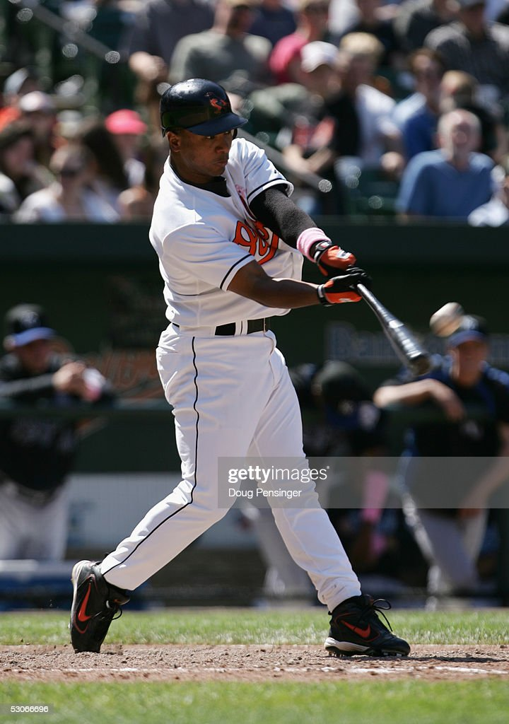 Infielder Melvin Mora #6 of the Baltimore Orioles swings at a Kansas City Royals pitch during MLB action at Oriole Park at Camden Yards on May 8, 2005 in Baltimore, Maryland. The Royals defeated the Orioles 10-8.