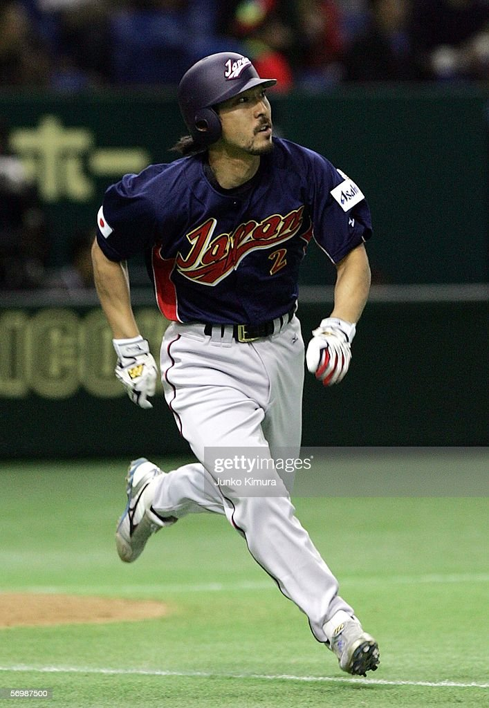 Infielder Michihiro Ogasawara #2 of Japan runs to first base during the first round of the 2006 World Baseball Classic at the Tokyo Dome on March 3, 2006 in Tokyo, Japan. Japan beat China 18 - 2.