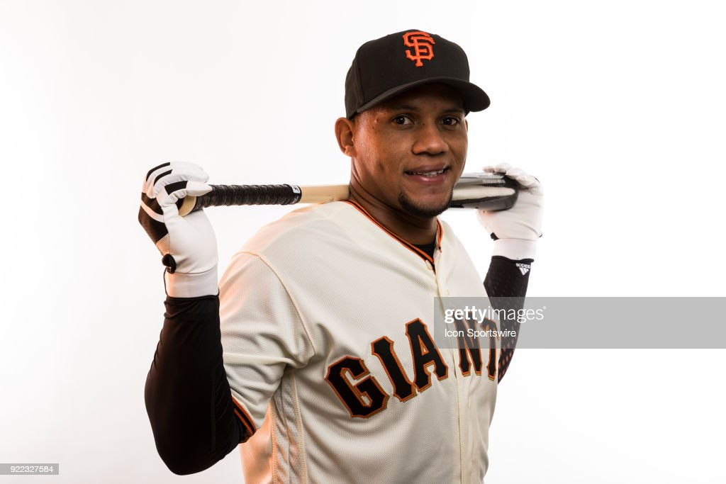 Infielder Miguel Gomez (52) poses for a photo during the San Francisco Giants photo day on Tuesday, Feb. 20, 2018 at Scottsdale Stadium in Scottsdale, Ariz.