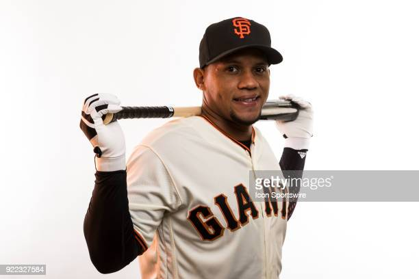 Infielder Miguel Gomez poses for a photo during the San Francisco Giants photo day on Tuesday Feb 20 2018 at Scottsdale Stadium in Scottsdale Ariz