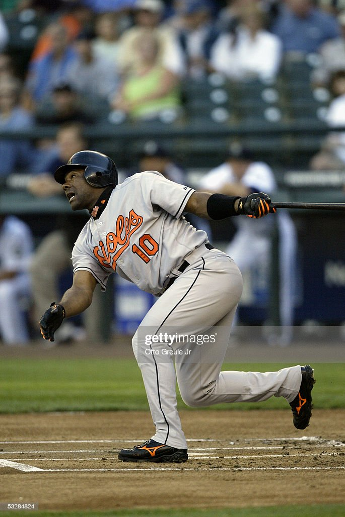 Infielder Miguel Tejada #10 of the Baltimore Orioles swings at a Seattle Mariners pitch during the game on July 14, 2005 at Safeco Field in Seattle Washington. The Orioles won 5-3.