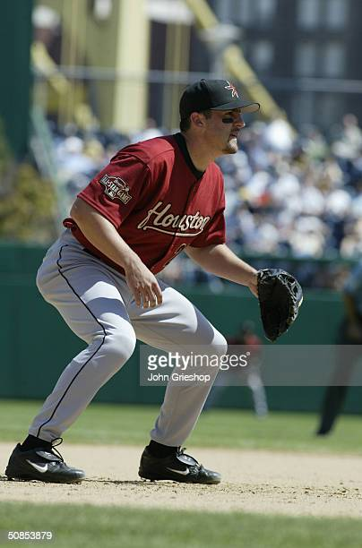 Infielder Mike Lamb of the Houston Astros is on the field for the game against the Pittsburgh Pirates at PNC Park on April 29 2004 in Pittsburgh...