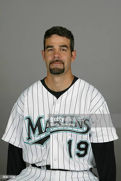 Infielder Mike Lowell of the Florida Marlins during photo day February 28 2004 at Roger Dean Stadium in Jupiter Florida