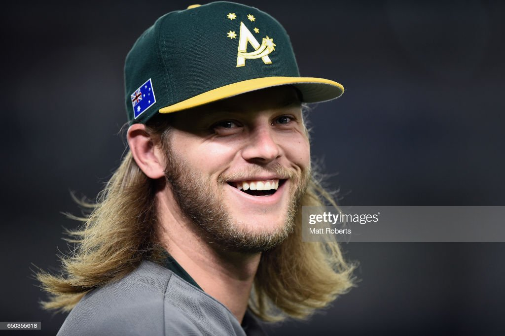 Infielder Mitchell Nilsson #15 of Australia celebrate his team's 11-0 win in the World Baseball Classic Pool B Game Four between Australia and China at the Tokyo Dome on March 9, 2017 in Tokyo, Japan.