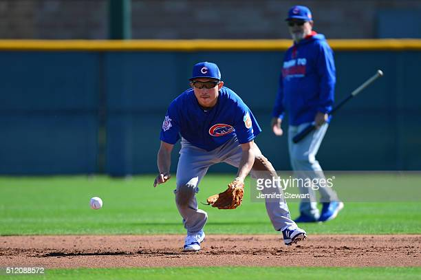 Infielder Munenori Kawasaki of the Chicago Cubs in action during a spring training workout at Sloan Park on February 24 2016 in Mesa Arizona