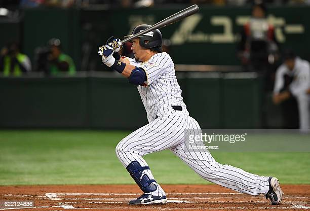 Infielder Nobuhiro Matsuda of Japan grounds out in the second inning during the international friendly match between Japan and Mexico at the Tokyo...