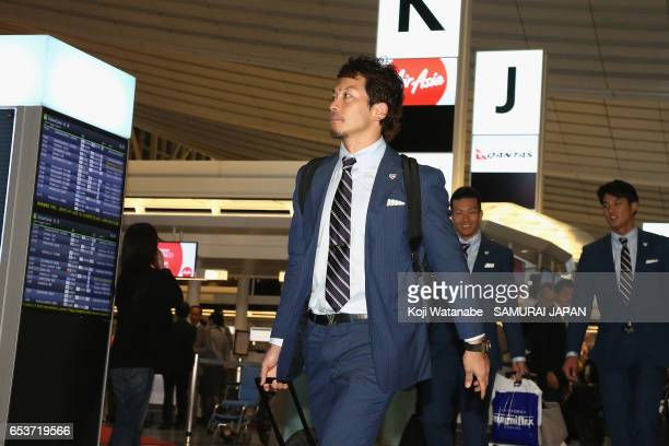 Infielder Nobuhiro Matsuda of Japan is seen on departure for the United States for the World Baseball Classic Championship Round at Haneda...