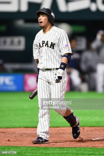 Infielder Nobuhiro Matsuda of Japan reacts after a strike out in the bottom of the third inning during SAMURAI JAPAN Sendoff Friendly Match between...