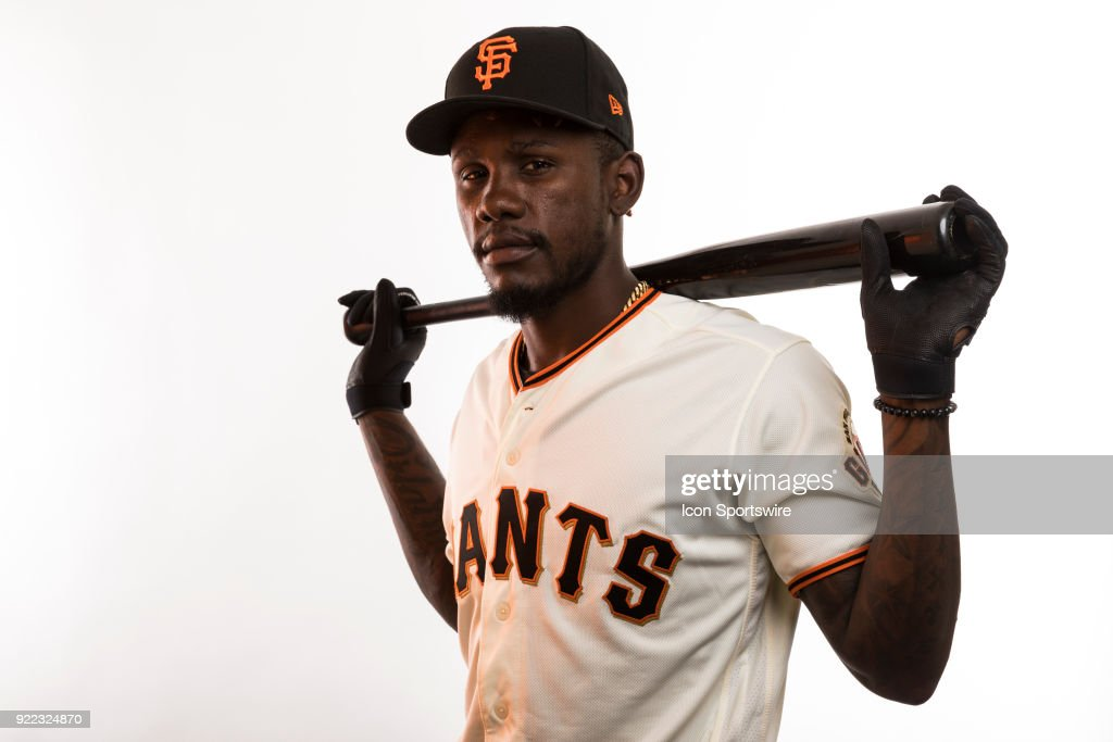 Infielder Orlando Calixte (46) poses for a photo during the San Francisco Giants photo day on Tuesday, Feb. 20, 2018 at Scottsdale Stadium in Scottsdale, Ariz.