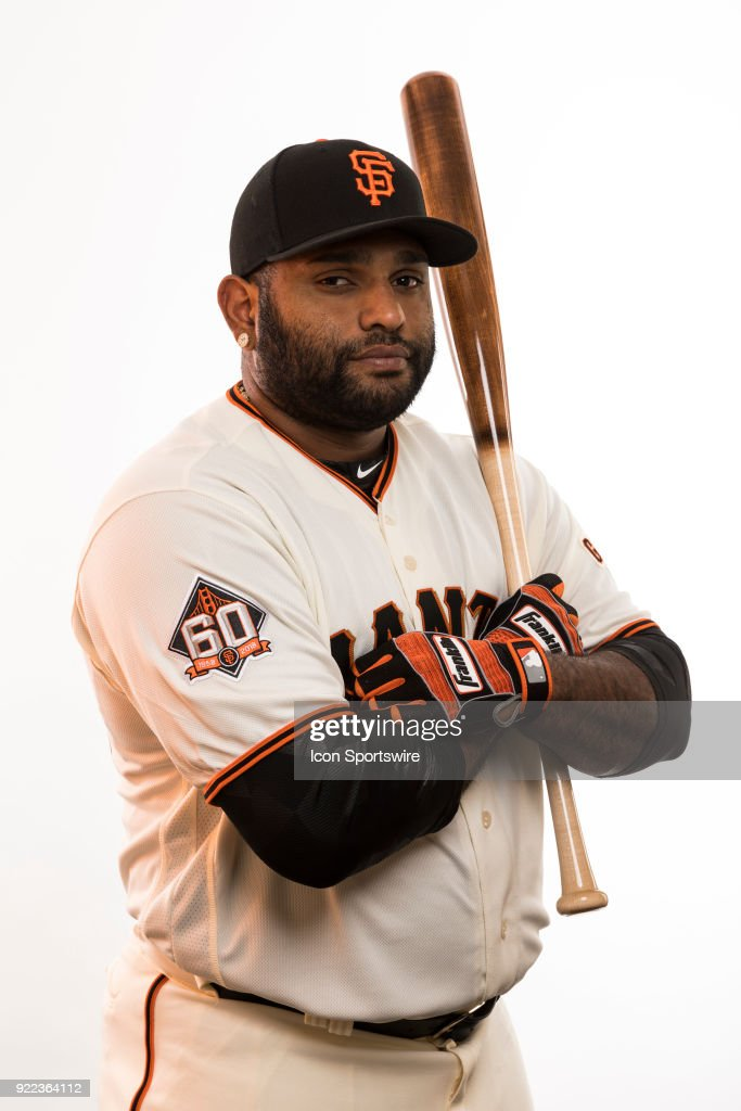 Infielder Pablo Sandoval (48) poses for a photo during the San Francisco Giants photo day on Tuesday, Feb. 20, 2018 at Scottsdale Stadium in Scottsdale, Ariz.