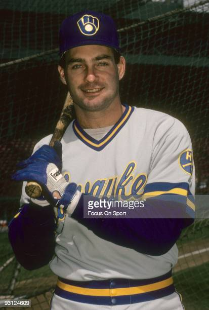 Infielder Paul Molitor of the Milwaukee Brewers bat on shoulder poses for this photo in front of the batting cage before a circa 1988 Major League...
