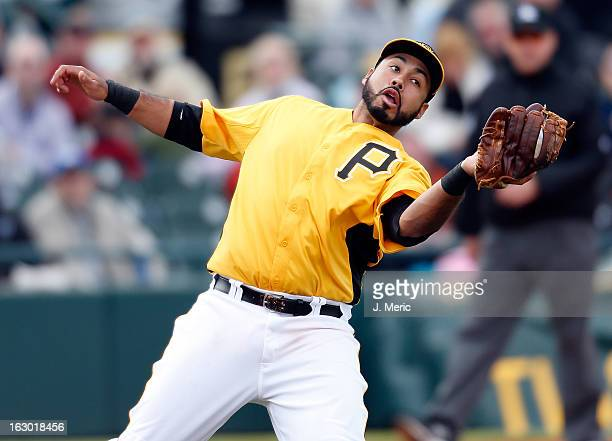 Infielder Pedro Alvarez of the Pittsburgh Pirates catches a fly ball against the Houston Astros during a Grapefruit League Spring Training Game at...