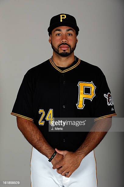 Infielder Pedro Alvarez of the Pittsburgh Pirates poses for a photo during photo day at Pirate City on February 17 2013 in Bradenton Florida