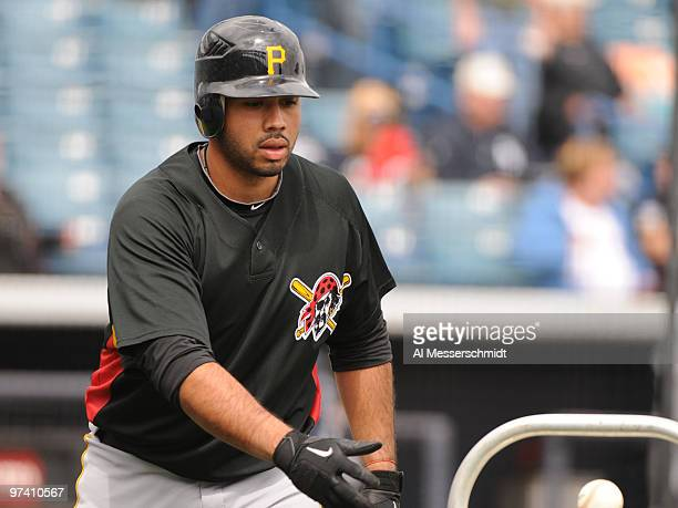 Infielder Pedro Alvarez of the Pittsburgh Pirates takes batting practice before play against the New York Yankees March 3 2010 at the George M...
