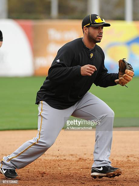 Infielder Pedro Alvarez of the Pittsburgh Pirates takes infield practice before play against the New York Yankees March 3 2010 at the George M...