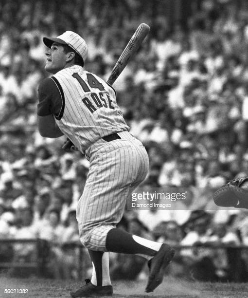 Infielder Pete Rose of the Cincinnati Reds at bat during a game in 1965 at Crosley Field in Cincinnati Ohio