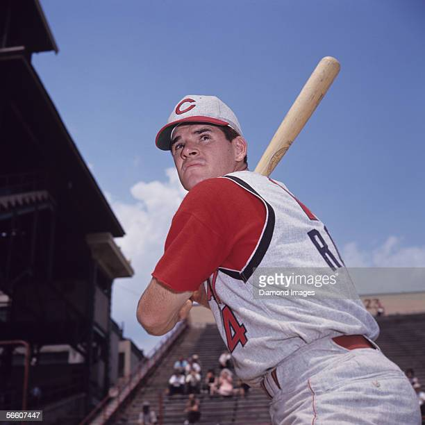 Infielder Pete Rose of the Cincinnati Reds poses for a portrait prior to a game in 1965 against the Pittsburgh Pirates at Forbes Field in Pittsburgh...