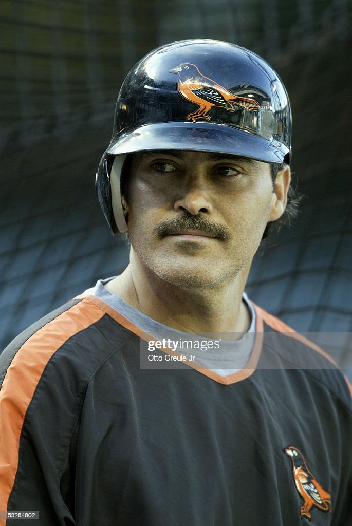 Infielder Rafael Palmeiro #25 of the Baltimore Orioles attends practice for the game against the Seattle Mariners on July 14, 2005 at Safeco Field in Seattle Washington. The Orioles won 5-3.