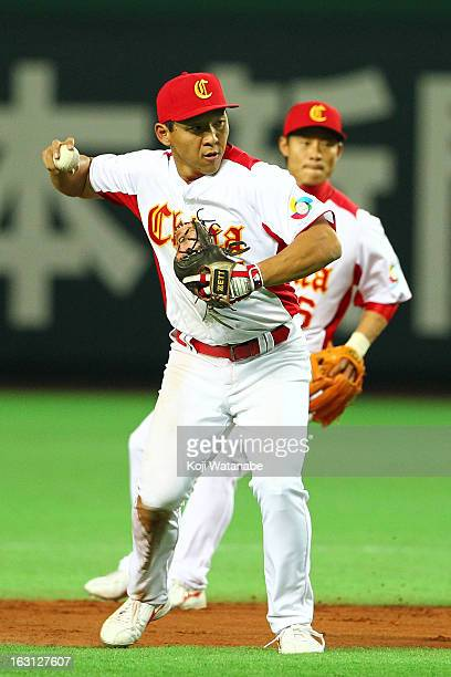 Infielder Ray Chang of China in action during the World Baseball Classic First Round Group A game between China and Brazil at Fukuoka Yahoo Japan...