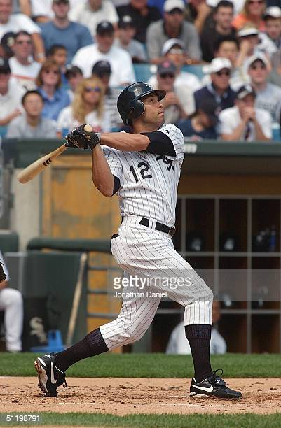 Infielder Roberto Alomar of the Chicago White Sox swings at a Cleveland Indians pitch during a game at US Cellular Field on August 8 2004 in Chicago...