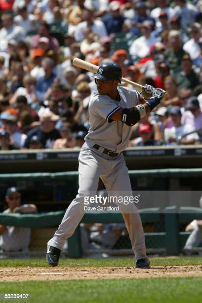 Infielder Robinson Cano of the New York Yankees waits for a Detroit Tigers pitch during the game at Comerica Park on July 3 2005 in Detroit Michigan...