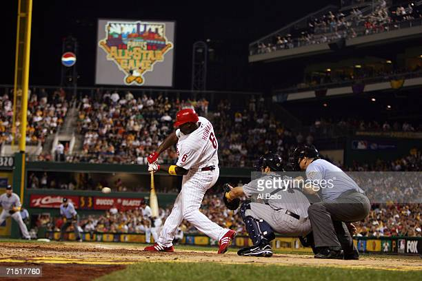 Infielder Ryan Howard of the National League AllStar team swings at an American League AllStar team pitch during the 77th MLB AllStar Game at PNC...