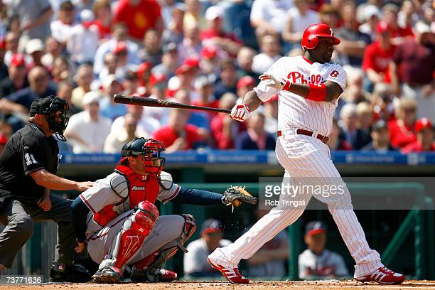 Infielder Ryan Howard of the Philadelphia Phillies singles in his first at bat against the Atlanta Braves during a Opening Day game on April 2 2007...