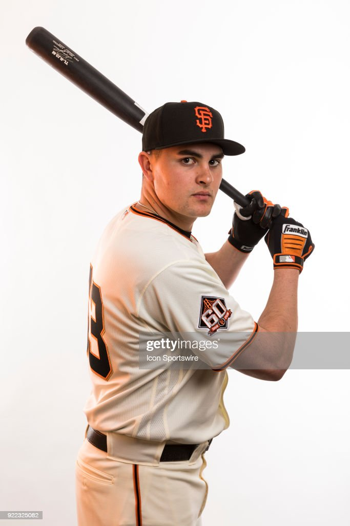 Infielder Ryder Jones (63) poses for a photo during the San Francisco Giants photo day on Tuesday, Feb. 20, 2018 at Scottsdale Stadium in Scottsdale, Ariz.