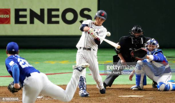Infielder Ryoma Nishikawa hits a two run double to make it 40 in the bottom of fifth inning during the Eneos Asia Professional Baseball Championship...