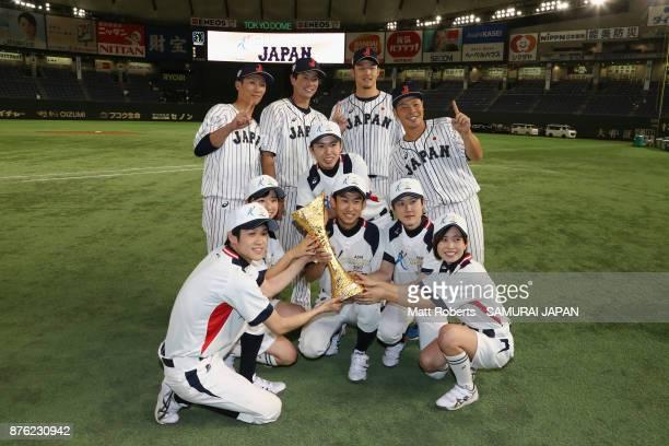 Infielder Ryoma Nishikawa Infielder Go Matsumoto Pitcher Kazuki Yabuta and Catcher Kensuke Kondo of Japan pose for photographs after the Eneos Asia...