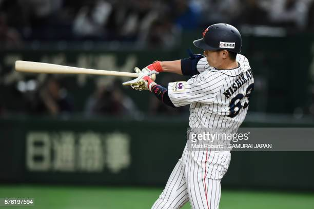 Infielder Ryoma Nishikawa of Japan hits a solo homer in the bottom of seventh inning during the Eneos Asia Professional Baseball Championship 2017...