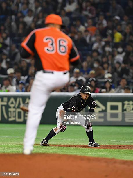 Infielder Ryosuke Kikuchi of Japan is seen on the first base in the first inning during the international friendly match between Netherlands and...