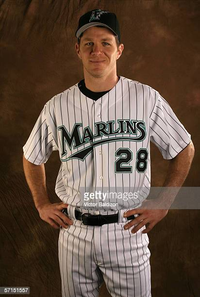 Infielder Scott Seabol of the Florida Marlins poses for a portrait during Photo Day on February 25 2006 at Roger Dean Stadium in Jupiter Florida