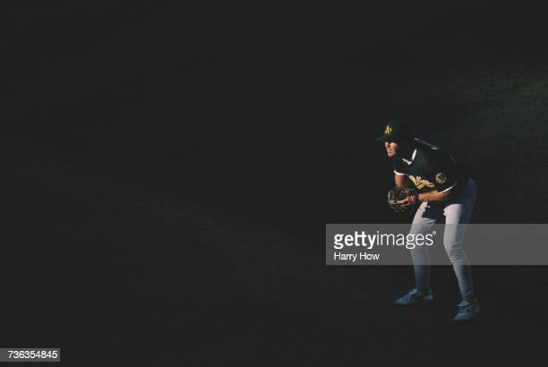 Infielder Scott Spiezio of the Oakland Athletics takes up position for a play during the Major League Baseball American League game against the...