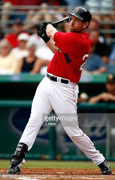 Infielder Sean Casey of the Boston Red Sox watches the flight of the ball against the Pittsburgh Pirates during the game on March 4 2008 at City of...