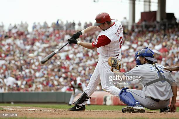 Infielder Sean Casey of the Cincinnati Reds bats during MLB Game against the Los Angeles Dodgers at Great American Ball Park on August 12 2004 in...
