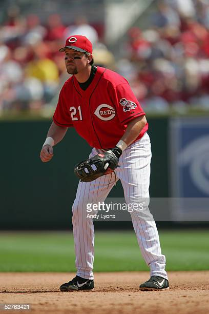 Infielder Sean Casey of the Cincinnati Reds plays defense against the Houston Astros during the game on April 17 2005 at Great American Ballpark in...