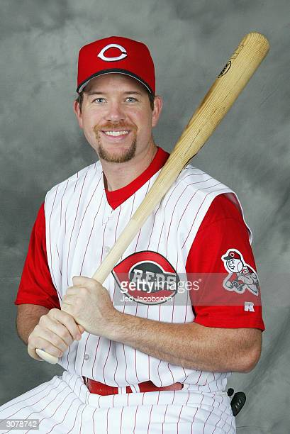 Infielder Sean Casey of the Cincinnati Reds poses for a portrait during Reds Photo Day on February 26 2004 in Sarasota Florida