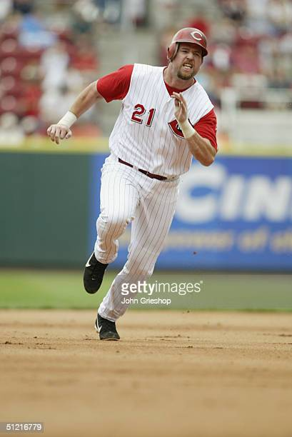 Infielder Sean Casey of the Cincinnati Reds runs during MLB Game against the Los Angeles Dodgers at Great American Ball Park on August 12 2004 in...