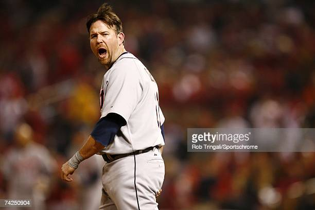 Infielder Sean Casey of the Detroit Tigers looks on against the St Louis Cardinals during Game Four of the 2006 World Series on October 26 2006 at...