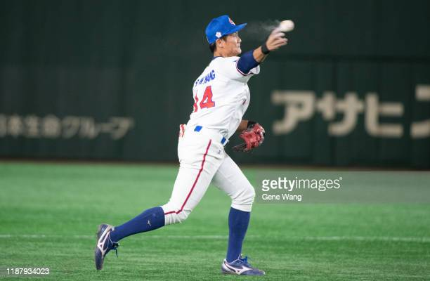 Infielder ShengWei Wang of team Chinese Taipei defense during the WBSC Premier 12 Super Round game between Chinese Taipei and Australia at the Tokyo...
