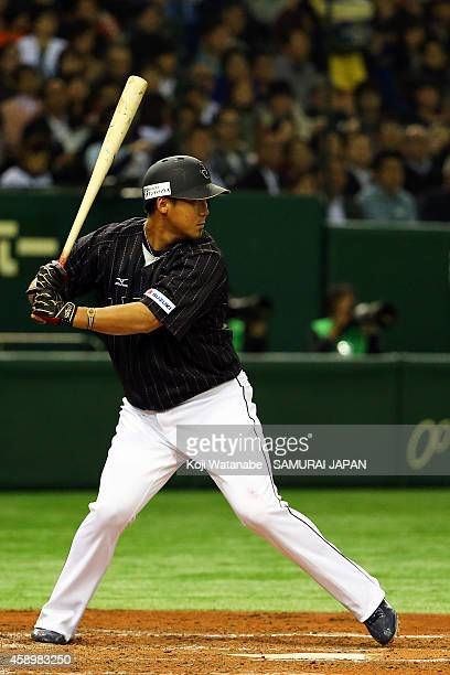 Infielder Sho Nakata during the game two of Samurai Japan and MLB All Stars at Tokyo Dome on November 14 2014 in Tokyo Japan
