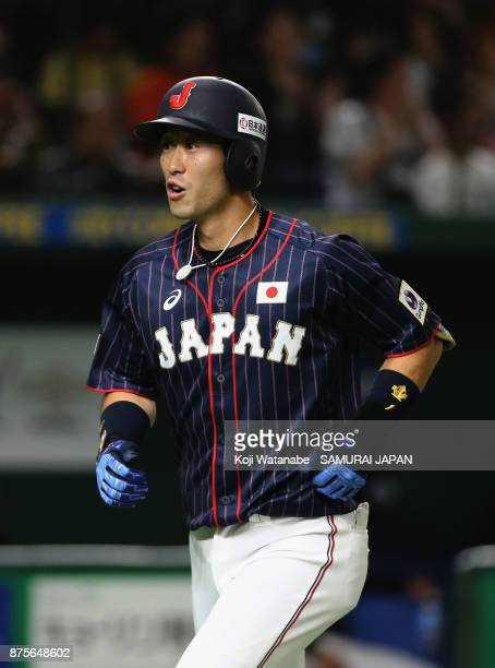 Infielder Shuta Tonosaki of Japan celebrates after hitting a solo homer in the top of second inning during the Eneos Asia Professional Baseball...