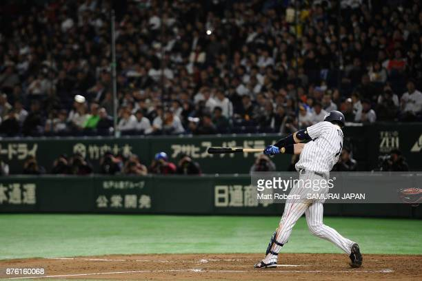 Infielder Shuta Tonosaki of Japan hits a RBI double to make it 10 in the bottom of fourth inning during the Eneos Asia Professional Baseball...
