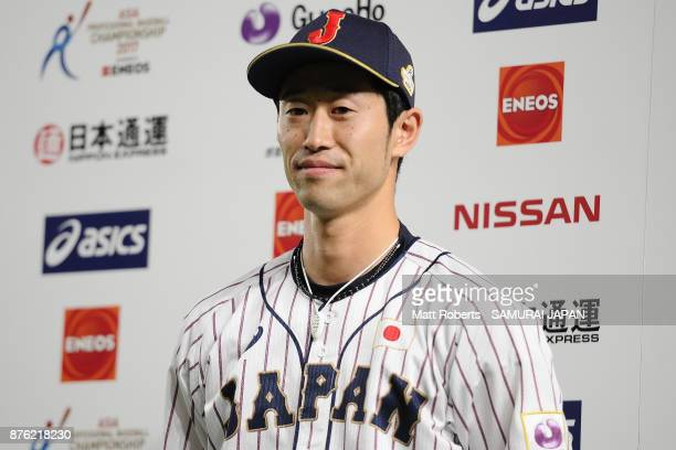 Infielder Shuta Tonosaki of Japan is interviewed after awarded the most valuable player after the Eneos Asia Professional Baseball Championship 2017...