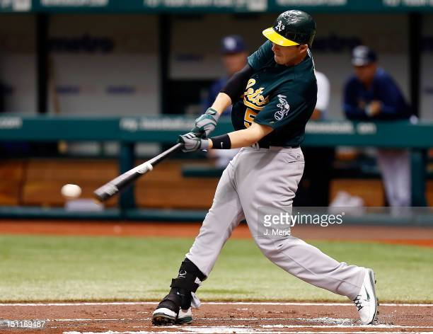 Infielder Stephen Drew of the Oakland Athletics bats against the Tampa Bay Rays during the game at Tropicana Field on August 25 2012 in St Petersburg...