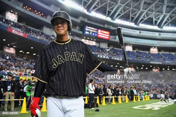 Infielder Tetsuto Yamada of Japan warms up prior to the World Baseball Classic WarmUp Game between Japan and Orix Buffaloes at Kyocera Dome Osaka on...
