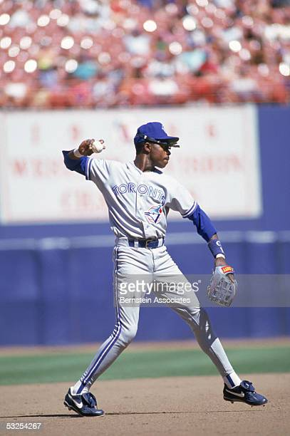 Infielder Tony Fernandez of the Toronto Blue Jays makes a throw during a game on September 5 1993 at SkyDome Stadium in Toronto Canada Fernandez...